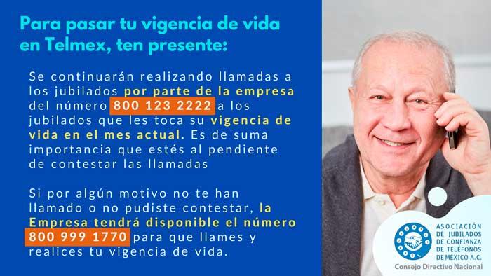 Vigencia de vida Asociación de Jubilados de Confianza de Teléfonos de México A.C. - Telmex